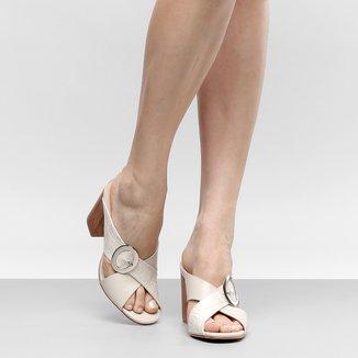 Mule Couro Shoestock Croco Fivela Feminina