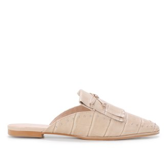 Mule Couro Shoestock Croco Flat Franja Rebites