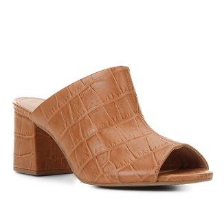 Mule Couro Shoestock Croco Salto Médio
