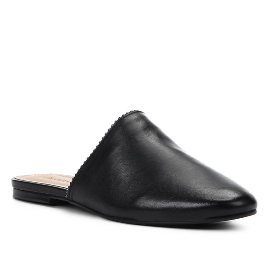 Mule Couro Shoestock Flat Glam - Preto