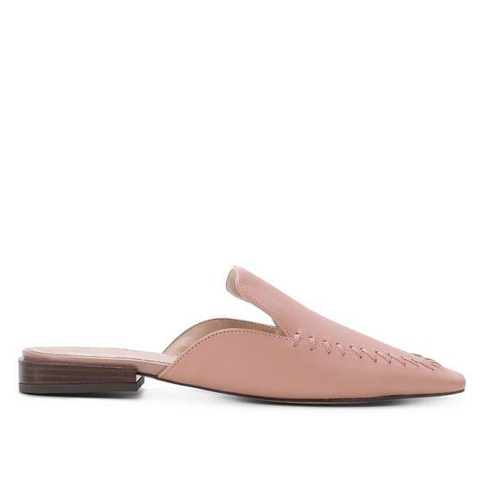 Mule Couro Shoestock Flat Handmade - Rosa