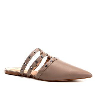 Mule Couro Shoestock Flat Metal Stud