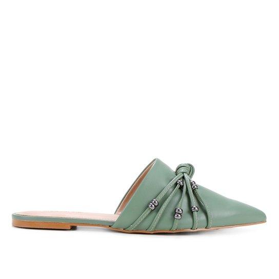 Mule Couro Shoestock Flat Miçangas - Verde