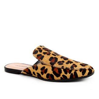 Mule Couro Shoestock Flat Pelo Onça