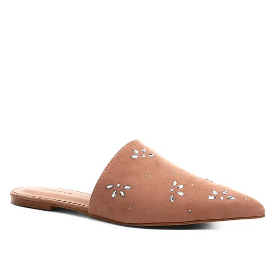 Mule Couro Shoestock Flat Shine Flowers - Nude