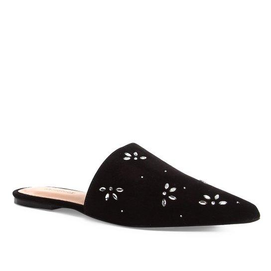 Mule Couro Shoestock Flat Shine Flowers - Preto
