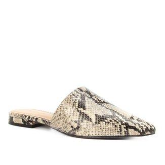 Mule Couro Shoestock Flat Snake