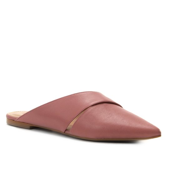 Mule Couro Shoestock Flat Strappy - Rosa