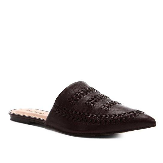 Mule Couro Shoestock Flat Tressê - Marrom