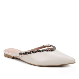 Mule Couro Shoestock Flat Vamp Corrente