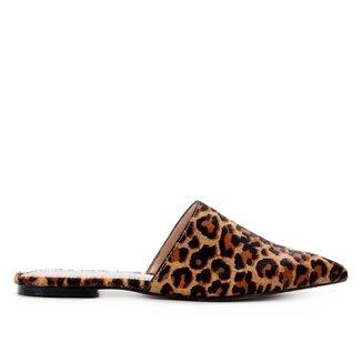 Mule Couro Shoestock Florence Pelo Onça Bico Fino
