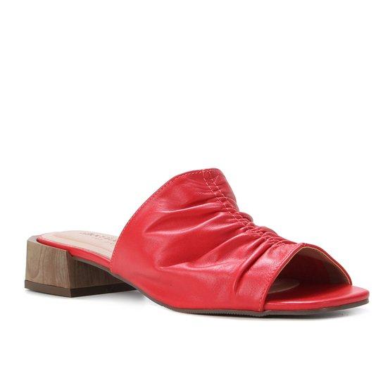 Mule Couro Shoestock For You Salto Médio - Vermelho