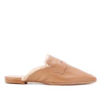 Mule Couro Shoestock Gravata Pelúcia