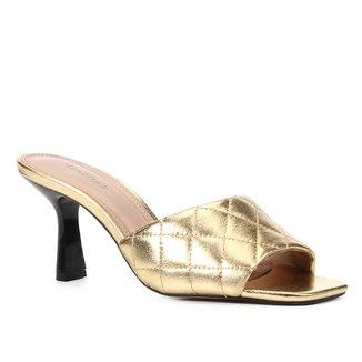 Mule Couro Shoestock Matelasse Salto Medio Feminino