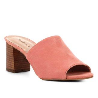 Mule Couro Shoestock Nobuck Salto Bloco