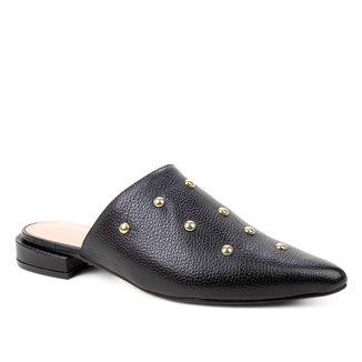 Mule Couro Shoestock Salto Baixo Cravos Metal