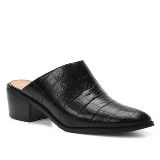 Mule Couro Shoestock Salto Bloco Croco
