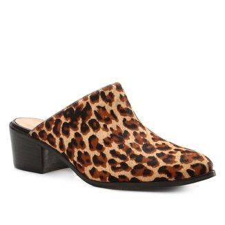 Mule Couro Shoestock Salto Bloco Wild Onça