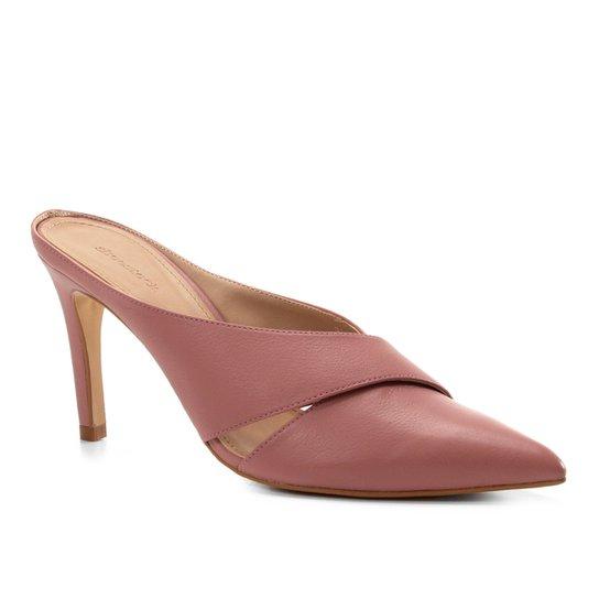 Mule Couro Shoestock Strappy Salto Fino - Rosa
