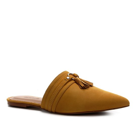 Mule Couro Shoestock Tassel Flat - Amarelo