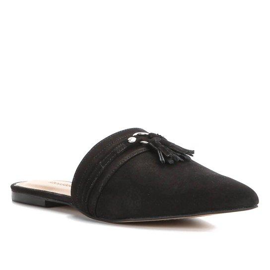 Mule Couro Shoestock Tassel Flat - Preto