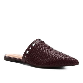 Mule Couro Shoestock Trama Ilhós