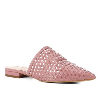 Mule Couro Shoestock Tressê Bico Fino