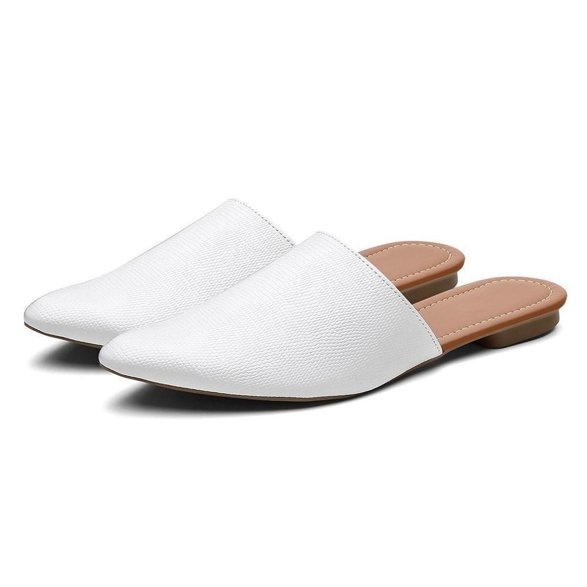 Mule Duo Fashion Casual Liso Bico Fino Baixo Feminino - Branco