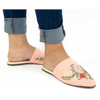 Mule Feminino Suede Bico Fino Bordado Floral Conforto Casual