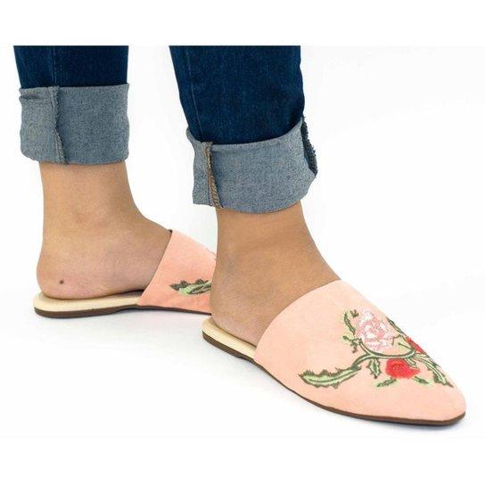 Mule Feminino Suede Bico Fino Bordado Floral Conforto Casual - Rosê