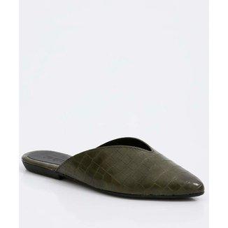 Mule Feminino Textura Croco Bico Fino You Flat - 10049592962