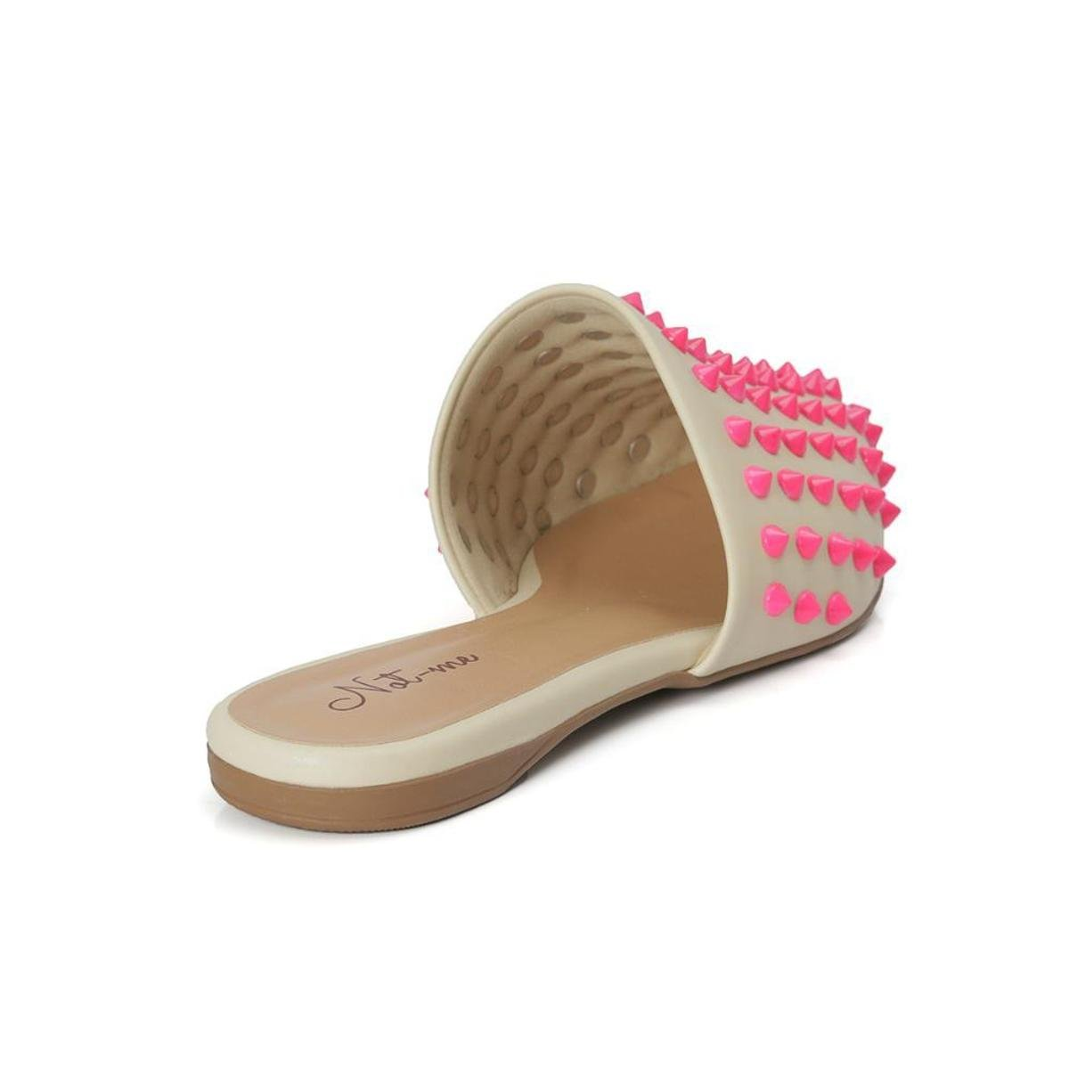 Mule Not-Me Spike Com Apliques Neon Feminino - Pink