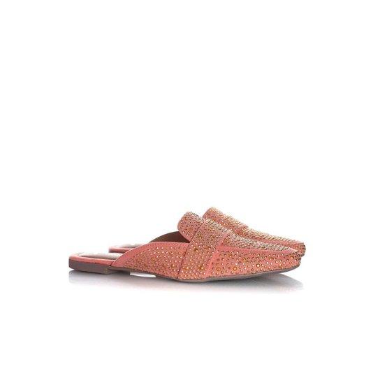 Mule Sapatilha Edilene Fashion com Strass Bege - Rosa