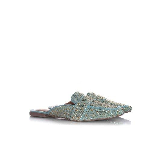 Mule Sapatilha Edilene Fashion com Strass Bege - Azul Claro