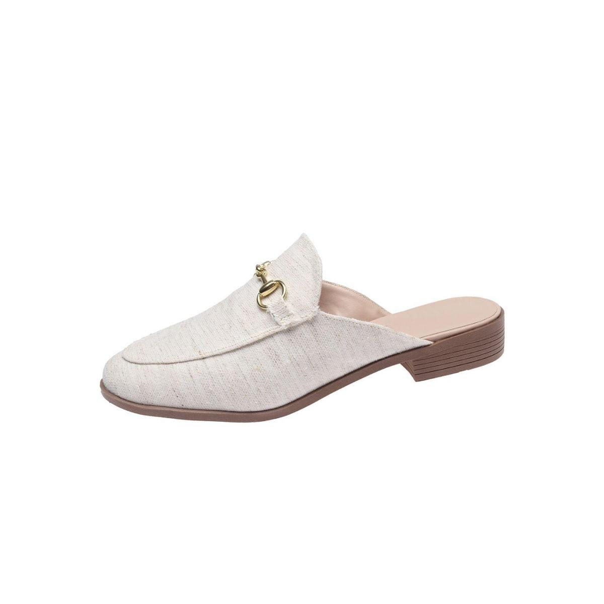 Mule Sapatos e Botas Linho Natural Feminino - Bege