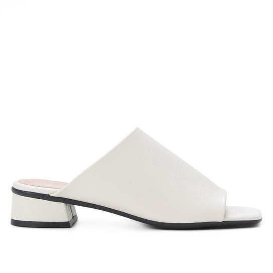 Mule Shoestock Basic Salto Baixo - Off White