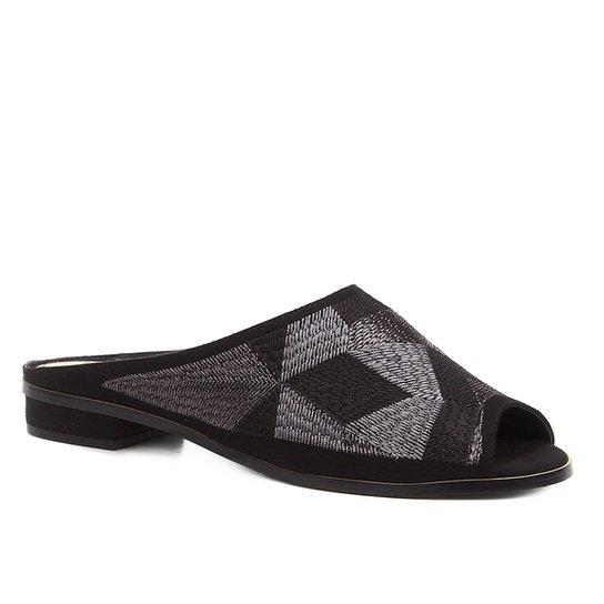 Mule Shoestock Bico Fino Geometric - Preto