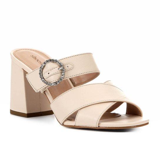 Mule Shoestock Couro Fivela Strass - Areia