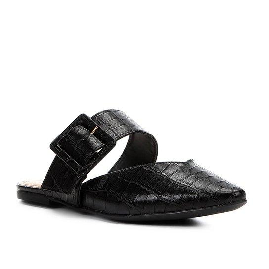 Mule Shoestock Croco Fivela - Preto