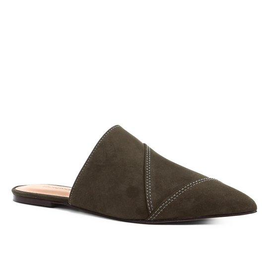 Mule Shoestock Flat Camurça - Musgo