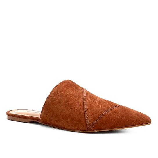 Mule Shoestock Flat Camurça - Caramelo