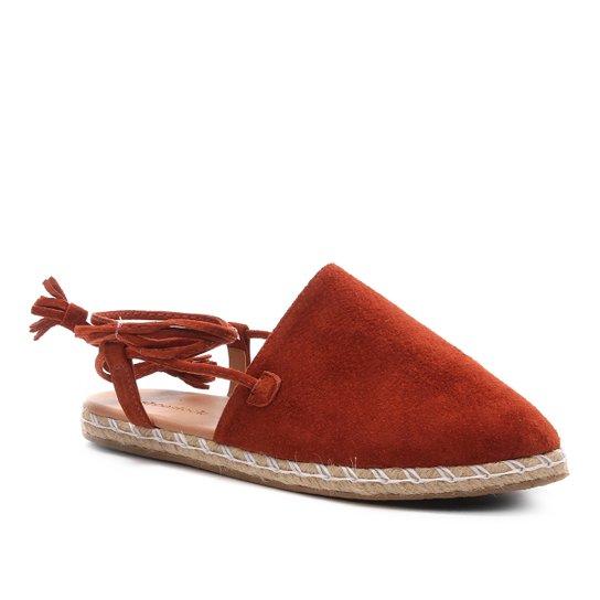 Mule Shoestock Flat Corda Camurça - Caramelo