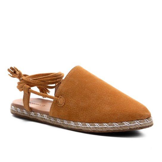 Mule Shoestock Flat Corda Camurça - Mostarda