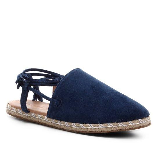 Mule Shoestock Flat Corda Camurça - Azul Claro