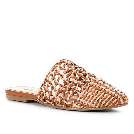 Mule Shoestock Flat Macramê - Caramelo