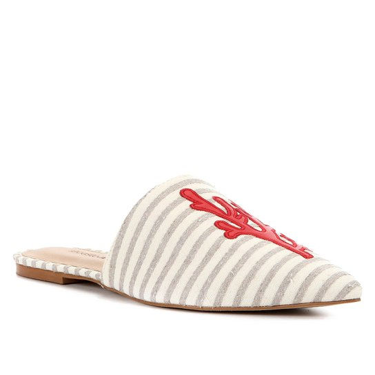 Mule Shoestock Flat Tecido Fundo Do Mar - Bege