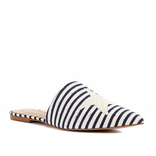 Mule Shoestock Flat Tecido Fundo Do Mar - Marinho