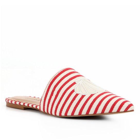 Mule Shoestock Flat Tecido Fundo Do Mar  - Vermelho