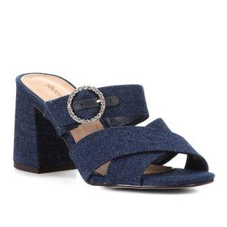 Mule Shoestock Jeans Fivela Strass