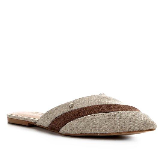 Mule Shoestock Jeans Organic Flat - Bege+Marrom